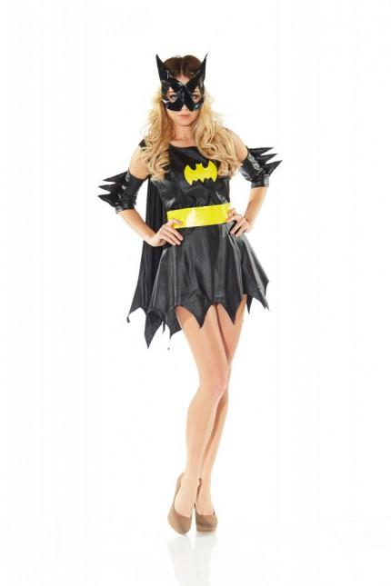 damen kost m batgirl fasching karneval batman fledermaus damen verkleidung ebay. Black Bedroom Furniture Sets. Home Design Ideas