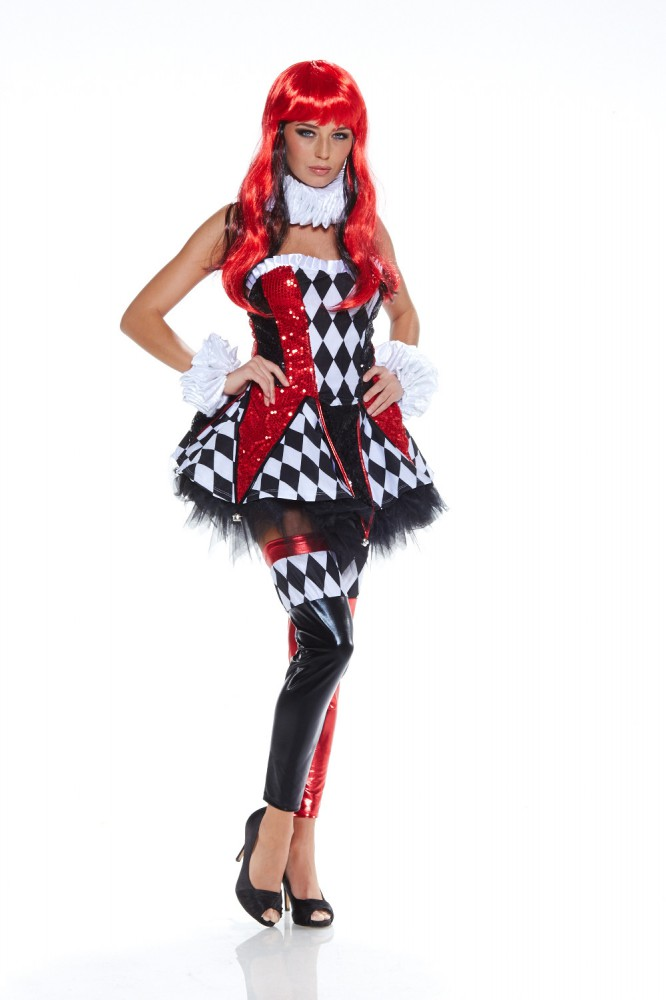 damen kost m sexy harlekin kleid gr m joker hofnarr clown fantasy verkleidung. Black Bedroom Furniture Sets. Home Design Ideas