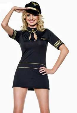 damen kost m sexy black pilot kapit n stewardess karneval. Black Bedroom Furniture Sets. Home Design Ideas