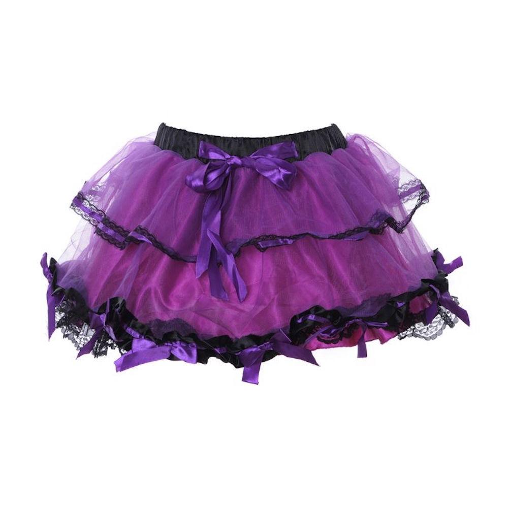 mini petticoat tutu mit schleifen lila schwarz gr s l. Black Bedroom Furniture Sets. Home Design Ideas
