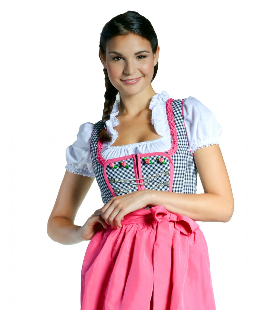 dirndl nadine schwarz weiss kariert pink 32 46. Black Bedroom Furniture Sets. Home Design Ideas
