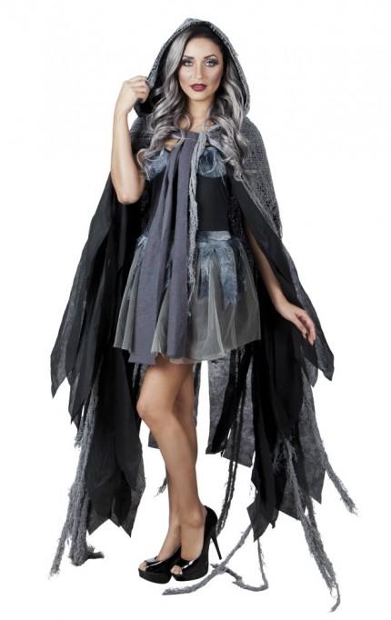 vampir umhang schwarz grau mit kapuze halloween kost m hexe geist mantel cape ebay. Black Bedroom Furniture Sets. Home Design Ideas