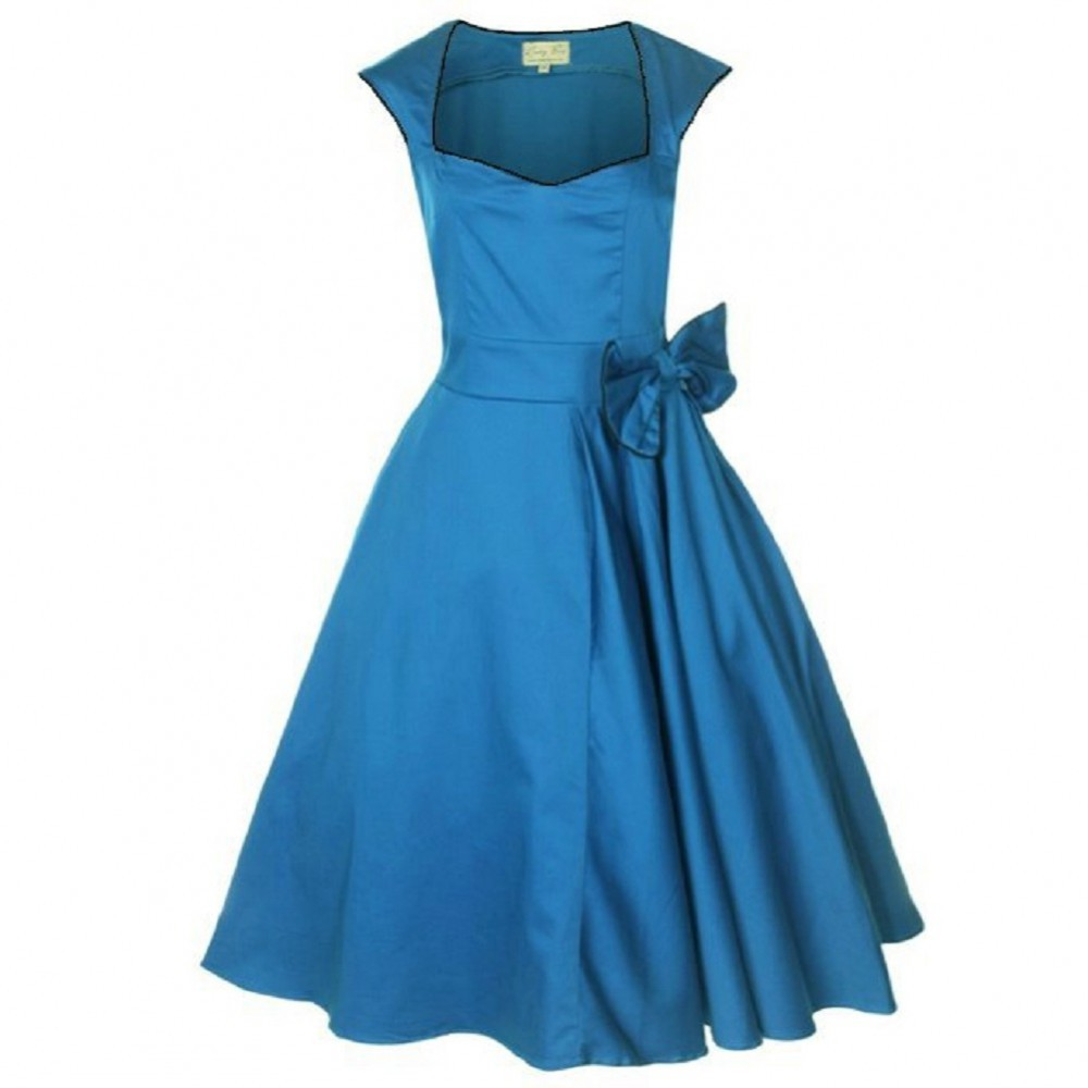 50er jahre rockabilly kleid inkl petticoat blau bild 1. Black Bedroom Furniture Sets. Home Design Ideas