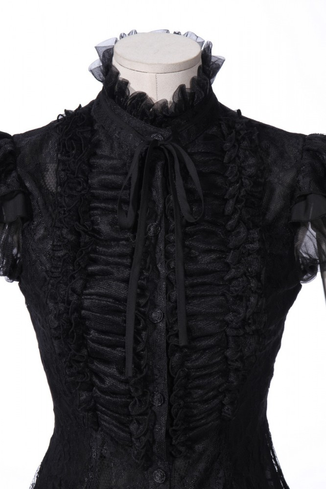 viktorianische kurzarm bluse schwarz bella 21162 kost me accessoires. Black Bedroom Furniture Sets. Home Design Ideas