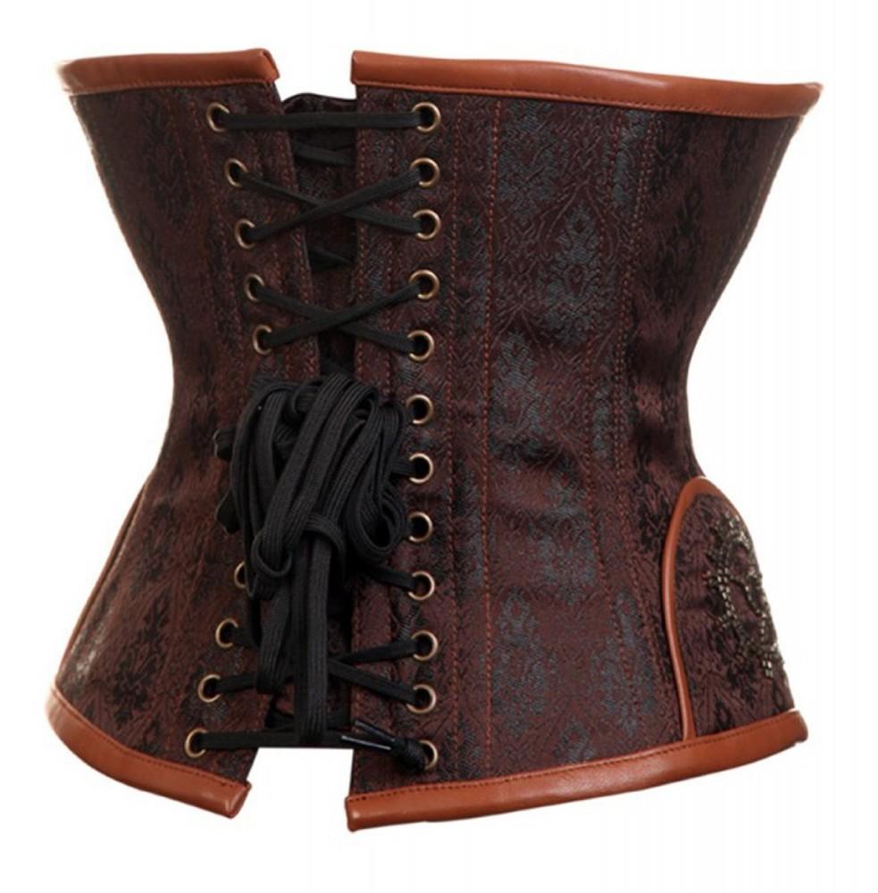 steampunk unterbrust korsage braun mit nieten und perlen dessous co korsagen. Black Bedroom Furniture Sets. Home Design Ideas